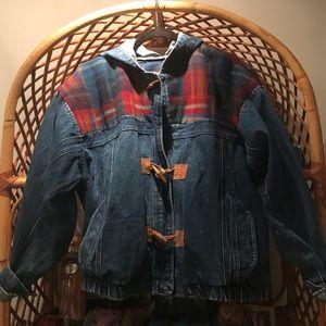 Jackets & Blazers - Vintage Jean Jacket with Plaid detail